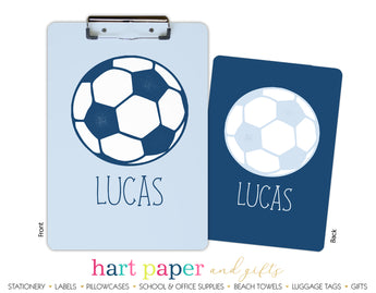 Blue Soccer Ball Personalized Clipboard School & Office Supplies - Everything Nice