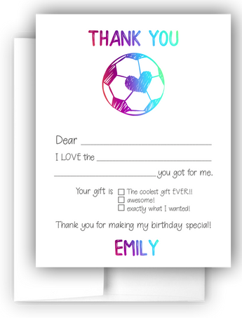 Heart Soccer Ball Thank You Cards Note Card Stationery •  Fill In the Blank Stationery Thank You Cards - Everything Nice
