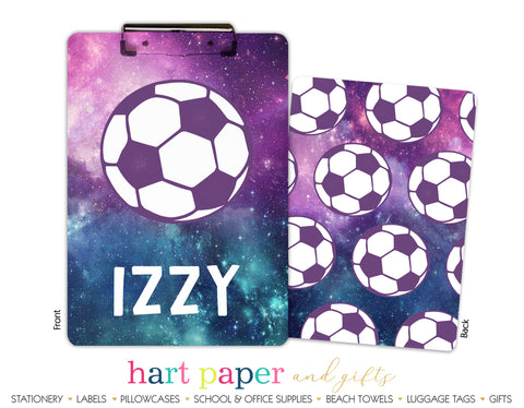 Galaxy Soccer Ball Personalized Clipboard School & Office Supplies - Everything Nice