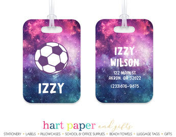 Galaxy Soccer Ball Luggage Bag Tag School & Office Supplies - Everything Nice