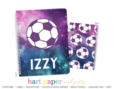 Galaxy Soccer Ball Personalized Notebook or Sketchbook School & Office Supplies - Everything Nice