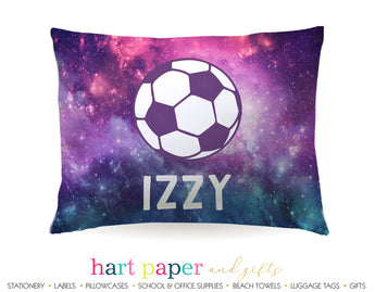 Galaxy Soccer Ball Personalized Pillowcase Pillowcases - Everything Nice