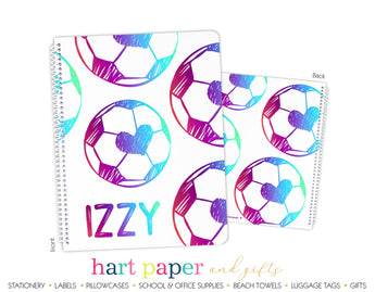 Rainbow Heart Soccer Ball Personalized Notebook or Sketchbook School & Office Supplies - Everything Nice
