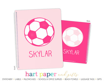 Hot Pink Soccer Ball Personalized Notebook or Sketchbook School & Office Supplies - Everything Nice