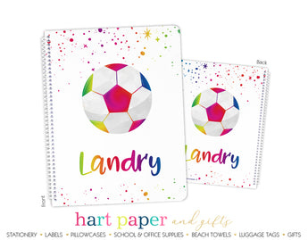 Rainbow Soccer Ball Personalized Notebook or Sketchbook School & Office Supplies - Everything Nice