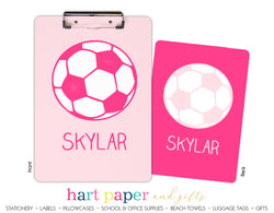 Pink Soccer Ball Personalized Clipboard