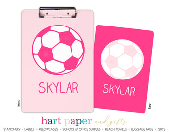 Pink Soccer Ball Personalized Clipboard School & Office Supplies - Everything Nice