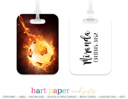 Soccer Ball on Fire Luggage Bag Tag