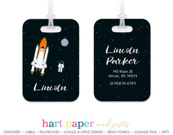Rocket Ship Astronaut Luggage Bag Tag