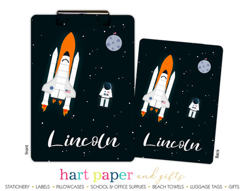 Rocket Ship Space Shuttle Personalized Clipboard School & Office Supplies - Everything Nice