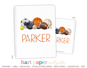Sports Balls Personalized Notebook or Sketchbook School & Office Supplies - Everything Nice
