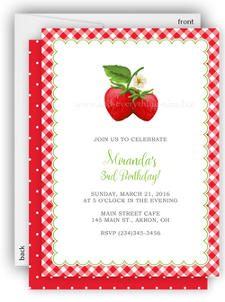 Strawberry Berry Party Invitation • Baby Shower Birthday Picnic • Any Colors