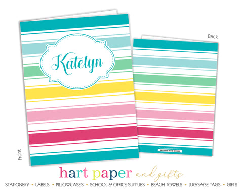 Rainbow Stripes b Personalized 2-Pocket Folder School & Office Supplies - Everything Nice