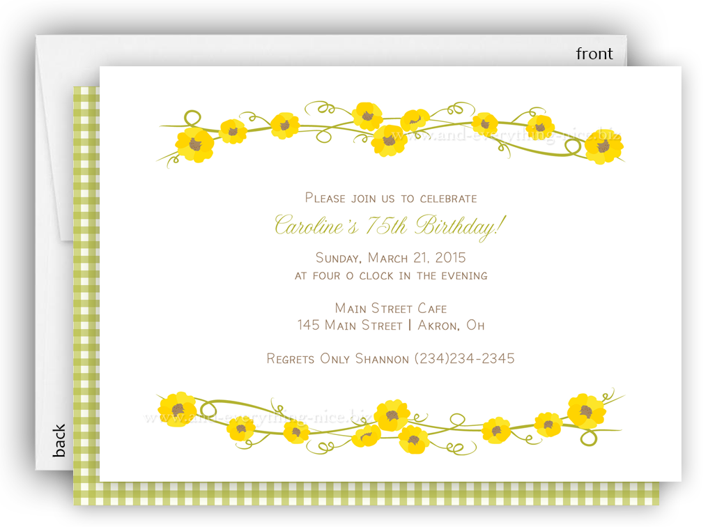 Sunflower Party Invitation Baby Shower Birthday Any Colors