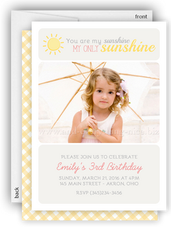 Sunshine Photo Birthday Party Invitation • Sun • Any Colors
