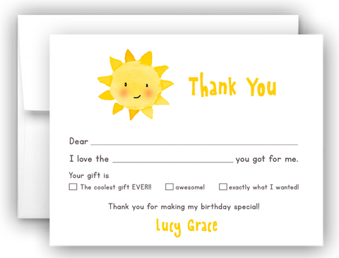 Sunshine Thank You Cards Note Card Stationery •  Fill In the Blank Stationery Thank You Cards - Everything Nice