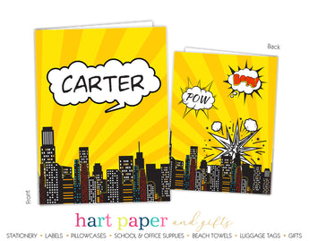 Superhero Personalized 2-Pocket Folder School & Office Supplies - Everything Nice