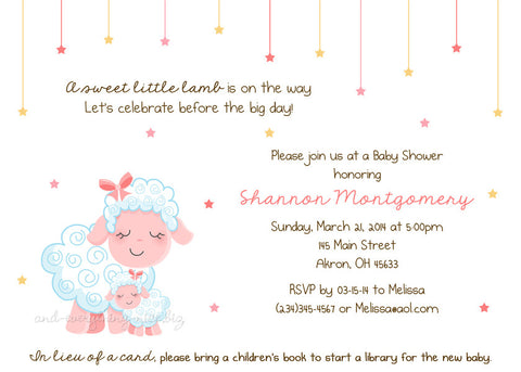 Sweet Lamb Sheep Party Invitation • Baby Shower Birthday • Any Colors