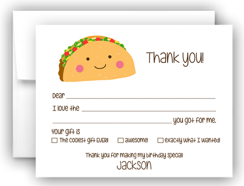 Taco Thank You Cards Note Card Stationery •  Fill In the Blank Stationery Thank You Cards - Everything Nice