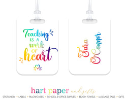 Teacher Rainbow Luggage Bag Tag