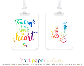 Teacher Rainbow Luggage Bag Tag School & Office Supplies - Everything Nice