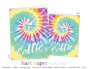 Rainbow Tie Dye Personalized 2-Pocket Folder School & Office Supplies - Everything Nice