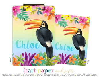 Rainbow Toucan Personalized Clipboard School & Office Supplies - Everything Nice