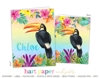 Toucan Bird Tropical Rainbow Personalized 2-Pocket Folder School & Office Supplies - Everything Nice