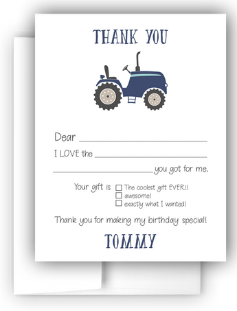 Tractor Thank You Cards Note Card Stationery •  Fill In the Blank Stationery Thank You Cards - Everything Nice