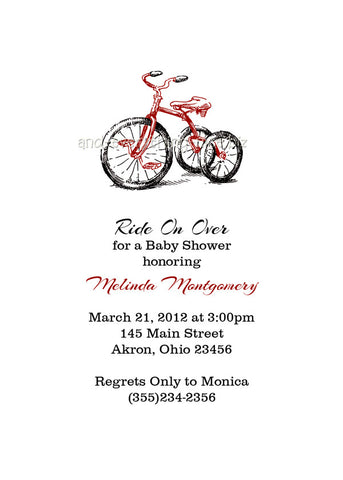 Tricycle Bike Party Invitation • Baby Shower Birthday • Any Colors Baby Shower Invitations - Everything Nice