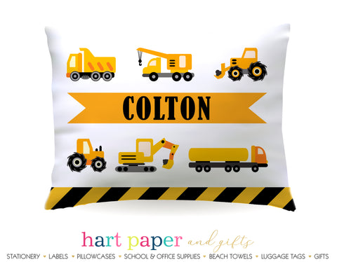 Construction Trucks Personalized Pillowcase Pillowcases - Everything Nice