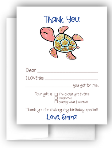 Turtle Thank You Cards Note Card Stationery •  Fill In the Blank Stationery Thank You Cards - Everything Nice