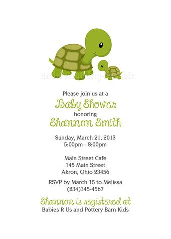 Turtle Baby Shower Invitation • Any Colors Baby Shower Invitations - Everything Nice