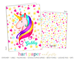 Rainbow Unicorn c Personalized 2-Pocket Folder
