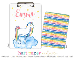 Rainbow Unicorn b Personalized Clipboard