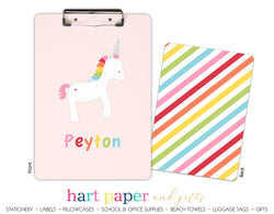 Rainbow Unicorn c Personalized Clipboard