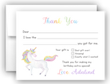 Rainbow Unicorn Thank You Cards Note Card Stationery •  Fill In the Blank Stationery Thank You Cards - Everything Nice