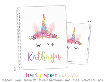 Rainbow Unicorn Horn Personalized Notebook or Sketchbook School & Office Supplies - Everything Nice