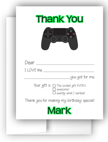 Video Game Thank You Cards Note Card Stationery •  Fill In the Blank Stationery Thank You Cards - Everything Nice