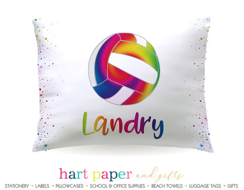 Rainbow Volleyball Personalized Pillowcase Pillowcases - Everything Nice