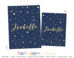Stars Sky Moon Space Galaxy Personalized 2-Pocket Folder