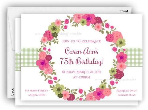 Flower Wreath Party Party Invitation • Baby Shower Birthday • Any Colors Kids Birthday Invitations - Everything Nice