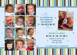 Year of Fun Stripes Collage Photo Birthday Party Invitation • Any Colors Kids Photo Birthday Invitations - Everything Nice