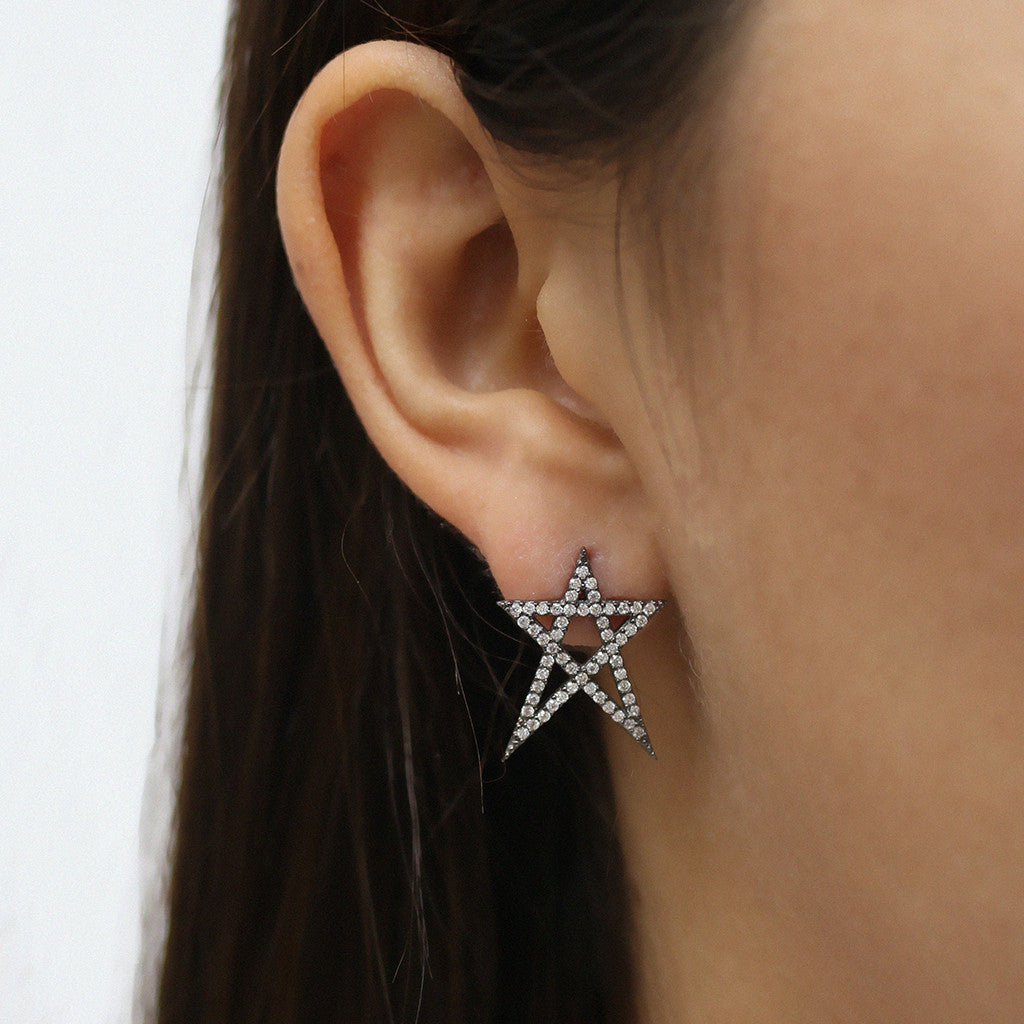 Small Black Plating Star Earrings - Magnolia Jewels & More
