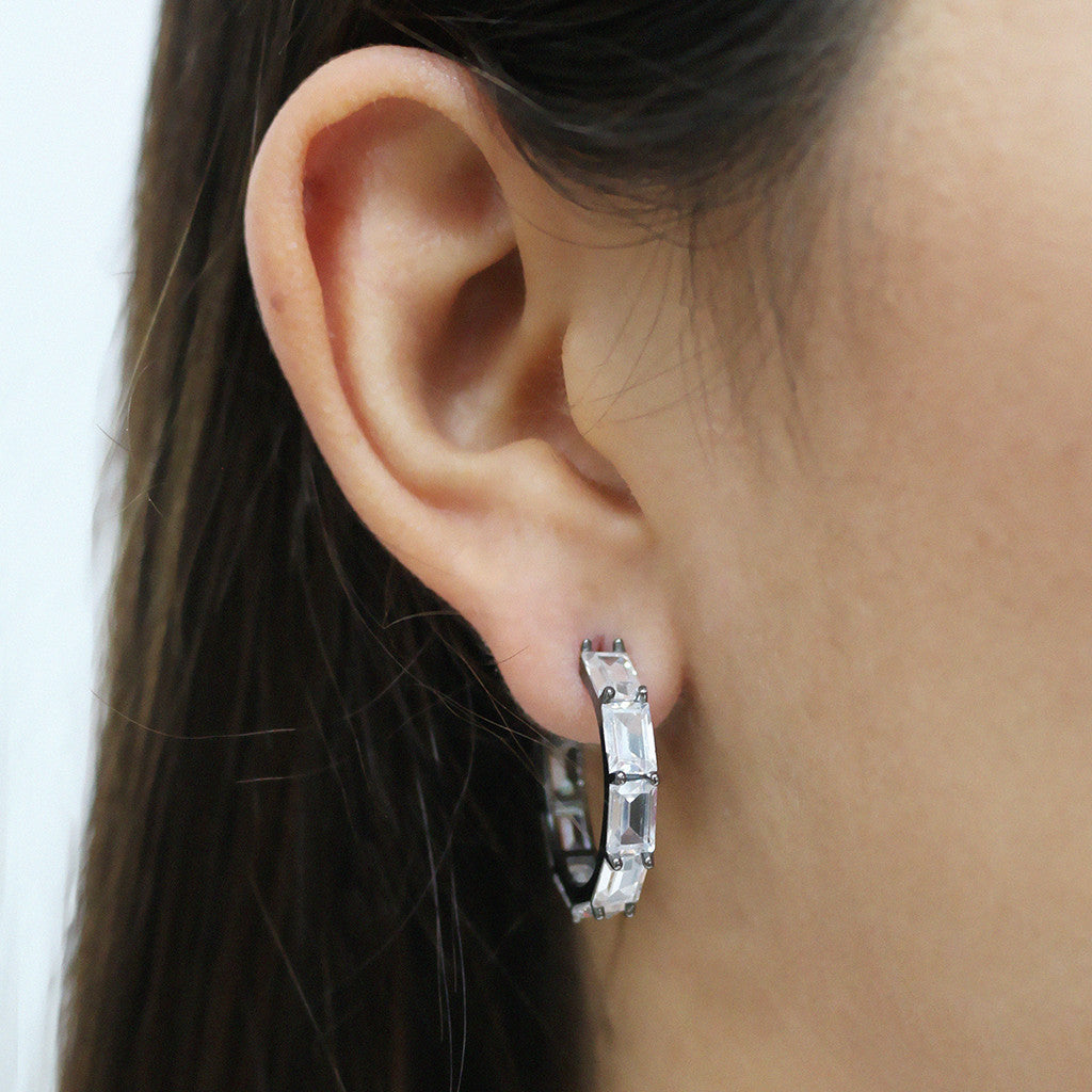Mini White Baguette Hoops - Magnolia Jewels & More