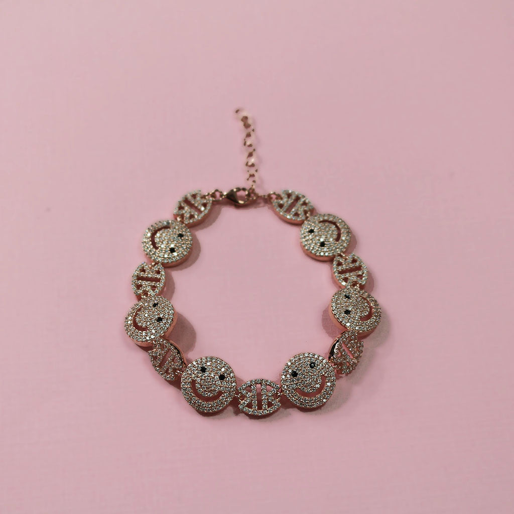 Full Stone Rose Gold Happy Face Bracelet - Magnolia Jewels & More