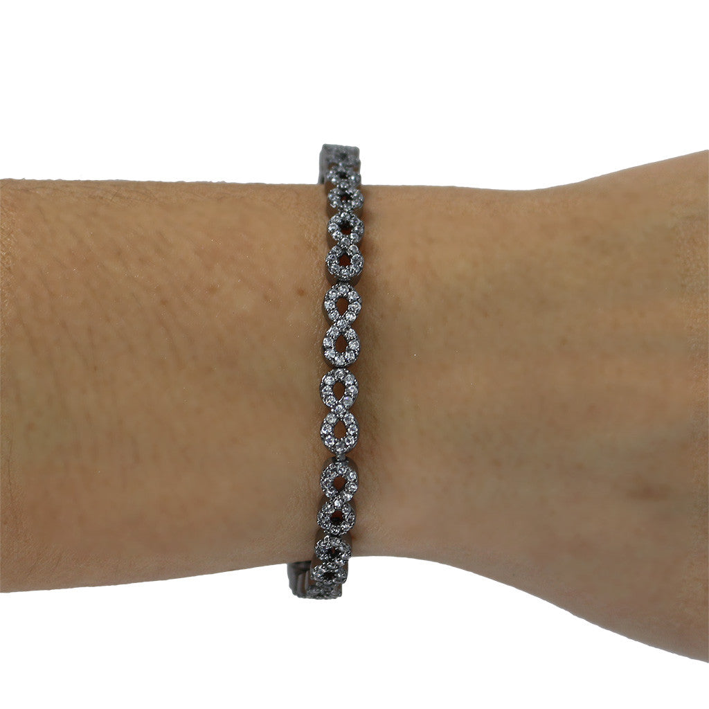 Black Plating Pave Infinity Bracelet - Magnolia Jewels & More