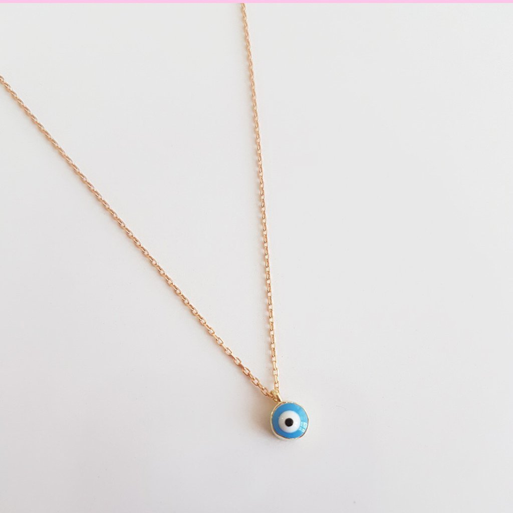 14k yellow gold Turquoise enamel evil eye Necklace - Magnolia Jewels & More