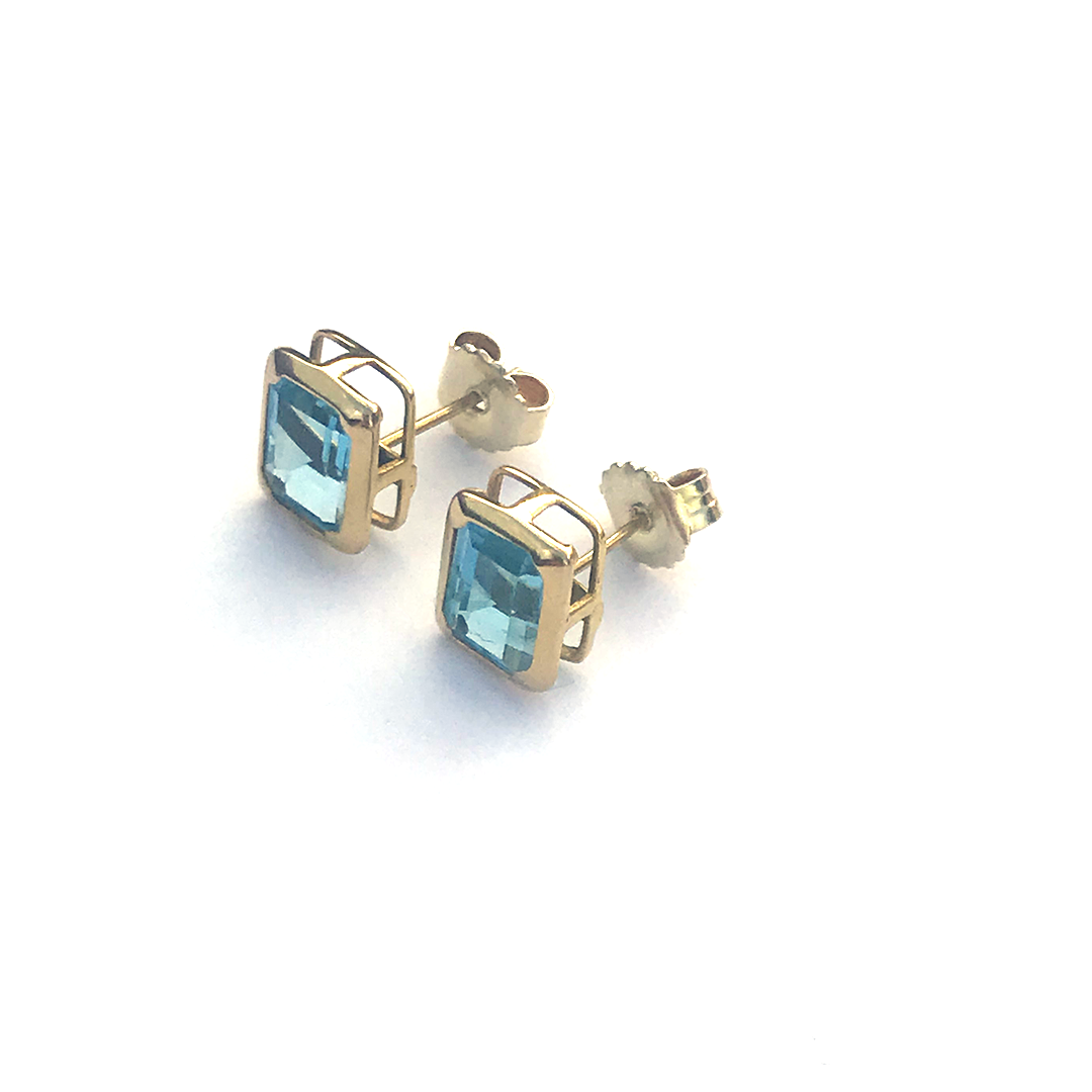 Emerald Cut Aquamarine Earrings 14k - Magnolia Jewels & More