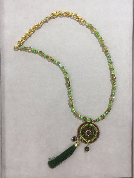 Moma's Green and Gold Murano Necklace